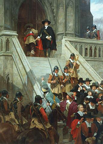 Oliver Cromwell dissolving the Long Parliament, 1653. Andrew Gow, 1907. Source: Wikipedia.
