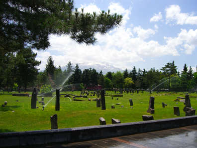 Muslim cemetery with Mons Argaeus in the background. Photograph: UK.