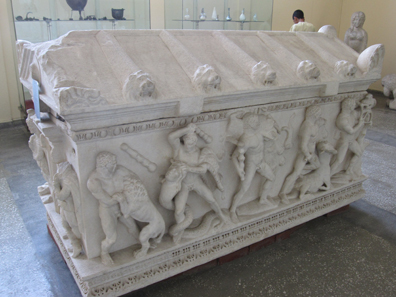 Sarcophagus depicting the 12 labors of Heracles. Photograph: KW.