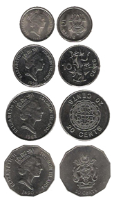 Solomon Islands dollars: 5, 10, 20 and 50 cent coins (1988-1990-1993-1990). The 5 cent coin will no longer be produced. Source: Wikipedia.