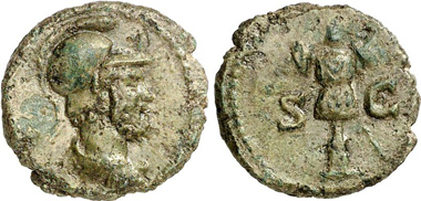 Quadrans, 120-150. Head of Mars. Rv. Trophy. From Gorny & Mosch auction 204 (2012), 2223.