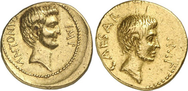 Octavianus, Aureus, 39. Head of Marcus Antonius. Rv. Head of Octavianus as commander with stubbles. From Gorny & Mosch auction 203 (2012), 311.