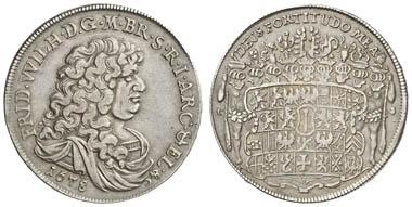 Los 7661: PREUSSEN, Friedrich Wilhelm, der Große Kurfürst, 1640-88, Reichstaler, 1678 CS, Berlin, mit Randschrift, Dav. 6206, v. Schr. 205, 28.87 g, RR, feine Patina, ss. Ergebnis: 10.620.