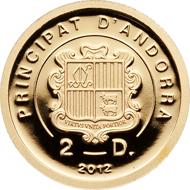 Andorra, 2 diners, 2012, gold .9999, 1/25 oz., 13.92 mm, Mintage: 5,000.