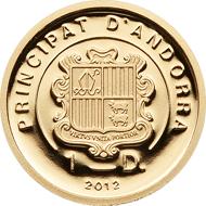 Andorra, 1 Diner, 2012, Gold .9999, 0,5 g, 11,00 mm, Auflage: 5.000.