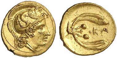 37:  Kamarina (Sicily). 1 1/3 Litra, c. 410-405. Head of Athena with Attic helmet. Rev. Olive sprout with two olives. SNG ANS 1209. Av. small scratches, otherwise extremely fine. Estimate: 7,500 euros. Prize realized: 20,700 euros.