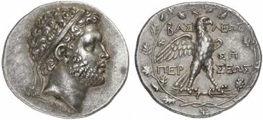 157: Perseus, 179-168 (Macedonia). Tetradrachm. Head with diadem r., below neck signature Zoilou. Rev. Eagle on thunderbolt in laurel wreath. Mamroth 15, 1. Ex Münzen und Medaillen 31 (2009), 29. Fine toning. Extremely fine. Estimate: 6,500 euros. Prize realized: 36,800 euros.