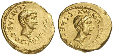 312: Roman Republic. Octavian. Aureus, 43 B. C., mint in Gallia Cisalpina. Head of Octavian r. Rev. Head of Julius Caesar. Cr. 490/2. Bought in September 1956 at Ludwig Grabow, Berlin. Good very fine. Estimate: 25,000 euros. Prize realized: 172,500 euros.