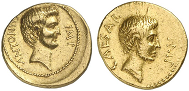 311: Roman Republic. Octavian and Marc Antony. Aureus, autumn of 40 B. C., mint accompanying Octavian (central or southern Italy). Head of Marc Antony r. Rev. Head of Octavian r. Cr. 529/1. Ex Hess-Leu 2 (1959), 321. Good very fine. Estimate: 25,000 Euros. Prize realized: 50,600 Euros.