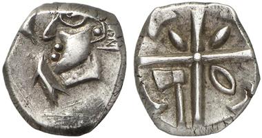 Drachme, wahrscheinlich der Volcae Tectosages aus dem 1. Jh. v. Chr. Aus Auktion Künker 204 (2012), 50.