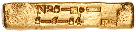 Brazil (Pedro I). Inscribed ingot, 1830. Gold, 167.22 grams. Serro Frio. Obverse: crowned arms of Portugal; 23.25 carats, 5 onças, 6 oitaves 54. These ingots were produced in Brazil from 1778 to 1833 as pseudo-monetary objects, like the US gold issues of the California Gold Rush of 1848-1855. Stamps, seals and indications of weights and purity are present, as has been the norm since the time of the Romans. Most European and American countries followed the Gold Standard at this time, sometimes alongside silver through a bimetallic standard (ANS 1963.240.1, gift of R. Henry Norweb, Sr.). Image Courtesy American Numismatic Society.