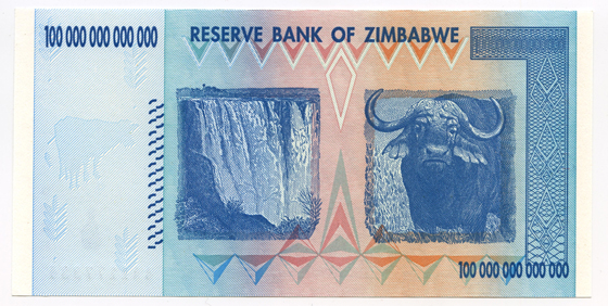 100,000,000,000,000 dollars, 2008, banknote. High inflation in Zimbabwe started in 2004, as the state had its central bank printing more and more money to provide resources for its strapped budget. Inflation reached 624% that year. The situation exponentially worsened and peaked in November, 2008, at a monthly rate of 79.4 billion %, or 98% on a daily rate. The Zimbabwean local dollar was dropped in April, 2009, in favor of using foreign currencies, mainly the US dollar - a paradoxical achievement. The peculiarity of the 100-trillion dollar banknote is the full display of all the 0s, something Hungary or Germany avoided, but which recalls the Yugoslavian practice (Loan of François Velde). Courtesy François Velde and the American Numismatic Society, NYC Zimbabwe.