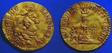 Gestohlener Golddukat 1690 Hessen-Homburg aus dem Münzkabinett des Gotischen Hauses Bad Homburg.