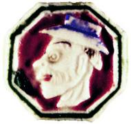 Porzellantoken mit karikiertem Kopf eines Chinesen mit Hut, Rs. Wertzeichen