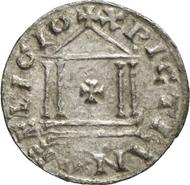 1405: KAROLINGER. Karl der Große (768-814). Denar 800 oder 812. Depeyrot 1166. M./G. 317. Von allergrößter Seltenheit, f. vz. Taxe: 30.000 Euro, Zuschlag 160.000 Euro.