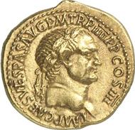 569: ROM. Vespasian (69-79). Aureus, 72. BMC 402. Calico 627 b. Coh. 139. RIC 2. Aufl. 1179. Selten, kl. Kratzer auf dem Rv, attrakt. vz. Taxe: 12.500 Euro, Zuschlag: 135.000 Euro.