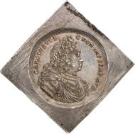 5411: REGENSBURG. Fünffache Reichstalerklippe o. J. (1711-1740), mit Titel Karls VI. Beckenb. - (vgl. 6172). Dav. - (vgl. 2613). Vermutlich Unikum, vz. Taxe: 10.000 Euro, Zuschlag: 28.000 Euro.