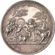 4616: PREUSSEN. Friedrich II., der Große (1740-1786). Silbermedaille 1758 auf die Schlacht bei Zorndorf. F. u. S. 4403. Old. 648. Von großer Seltenheit, vz., f. Tönung. Taxe: 1.000 Euro, Zuschlag 5.000 Euro.