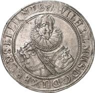 4861: BRAUNSCHWEIG-HARBURG. Wilhelm (1603-1642) Reichstaler 1636. Dav. 6407. Slg. Koch -.Welter Nachtrag 724. Von größter Seltenheit, vz. Taxe: 5.000 Euro, Zuschlag 24.000 Euro.