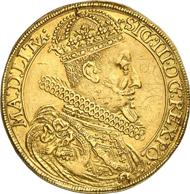 6444: POLEN. Sigismund III., 1587-1632. Portugalöser zu 10 Dukaten 1622. Fb. 77. H.-Cz. 5793 (R7). Kopicki -. Von großer Seltenheit, winz. Grafitti, attrakt. ss. Taxe: 30.000 Euro, Zuschlag: 130.000 Euro.