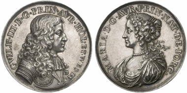 Charles II (1660-1685). Silver medal, no year, by N. Chevalier on the marriage of Mary II and William III of Orange (1677). Eimer 256. From Künker auction 183 (2011), 1723.