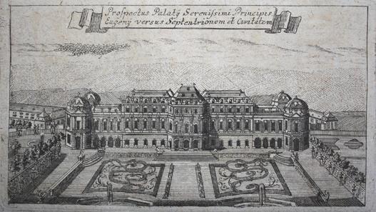 Ansicht des Schlosses Belvedere. Stich um 1753. Quelle: Wikipedia.
