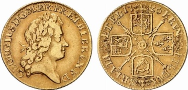 George I (1714-1727). Guinea 1726, London. Seaby 3633. From Künker auction 139 (2008), 7575.