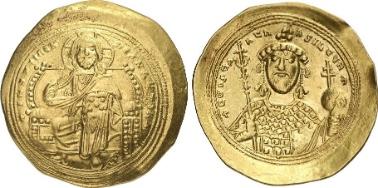 Konstantin IX. Histamenon. Rv. Kaiser mit Kreuzszepter und Kreuzglobus. Aus Auktion Gorny & Mosch 203 (2012), 621.