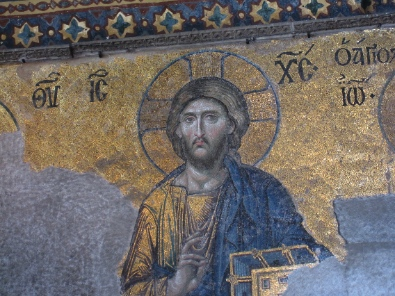 Christ Pantocrator, right hand elevated to give His blessing, book in the left. Photograph: KW.