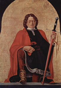 Francesco del Cossa (1436-1487), St Florian, 1473, oil on canvas. Once Griffoni altar in San Petronio, Bologna, now National Gallery of Art, Washington. Source: Wikipedia.