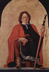 Francesco del Cossa (1436-1487), Der Heilige Florian, 1473, Öl auf Leiwand. Ehemals Teil des Griffoni-Altars in San Petronio, Bologna, heute in der National Gallery of Art, Washington. Quelle: Wikipedia.