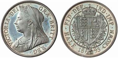Viktoria (1837-1901). 1/2 Crown 1893, London. Aus Auktion Künker 131 (2007), 4189.