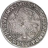 Der äußerst seltene Talar (Taler) des polnischen Königs Stephan Bathory aus dem Jahr 1580 wurde für 80000 Euro zugeschlagen.