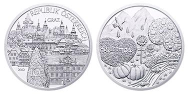 Österreich / 10 Euro / .925 Silber / 32,00 mm / 17,30 g / Entwurf: Thomas Pesendorfer, Sieger Wettbewerb: Viktoria Reicht / Auflage: 40.000 (Handgehoben), 30.000 (Polierte Platte).