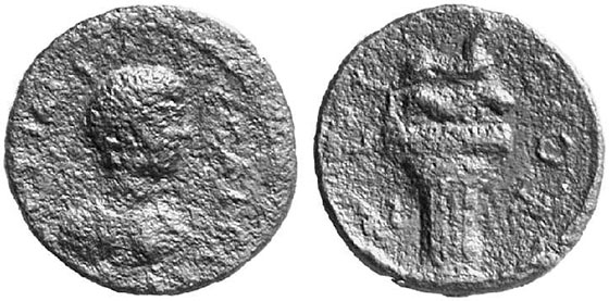 Corinth (Achaea), AE, Geta, 209-211. Rev.: tomb of Laïs: capital of a Doric column with a ram on top, lioness above. Weber 3812 (same die). From auction Numismatik Lanz Munich 109 (2002), no. 649.