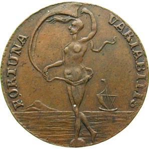 Rechenmarke mit Fortuna auf der Rückseite von Münzmeister Johann Wilhelm Schlemm in Clausthal, 1753-1790. © Sammlung MoneyMuseum.