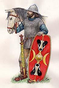 Artist's impression of Tasciovanos 'killer of badgers' as commander of Catuvellaunian cavalry.