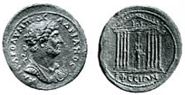 Ephesos, Hadrian, 117-138. Medallion. Rev.: Temple of Artemis Ephesia with cult statue. BMC 77, 224. From auction Münzen und Medaillen AG, Basel 81 (1995), no. 494.