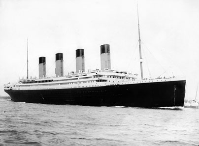 RMS Titanic departing Southampton on April 10, 1912. Photo: F. G. O. Stuart / Wikipedia.