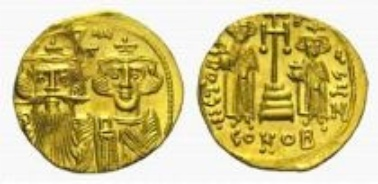 Byzanz, Constans II., Solidus.