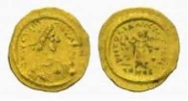 Byzanz, Justin II., Tremissis.