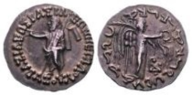 Indo-Skythen, Azes I., Tetradrachme (9,29 g).