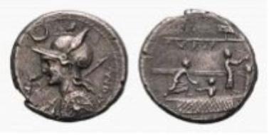 Roman Republic, P. Licinius Nerva, denarius (3.69 g).