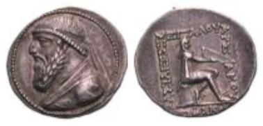 Parther, Mithradates II., Tetradrachme (15,98 g).