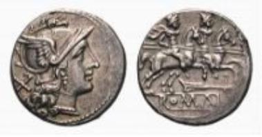 Römische Republik, Ruder, Denar (3,5 g).