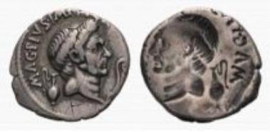 Roman Republic, Sextus Pompeius Magnus Pius, denarius (3.79 g).