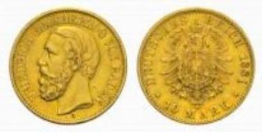 Baden, Friedrich I., 10 Mark 1881 G.