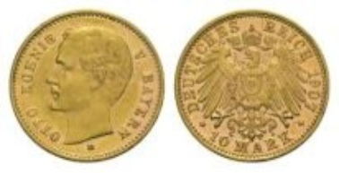 Bavaria, Otto II, 10 Mark 1907 D.