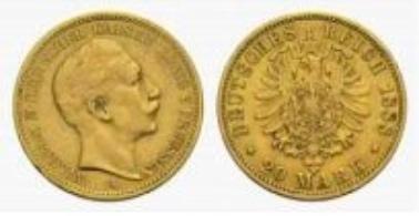 Prussia, Wilhelm II, 20 Mark 1888 A.