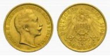 Preußen, Wilhelm II., 20 Mark 1909 A.